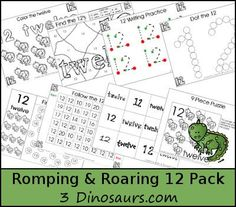 Free Romping & Roaring Number 12  - coloring pages, playdough mats, counting, tracing and more 39 pages great for ages 3 to 6 or 7 - It has a pet theme - 3Dinosaurs.com