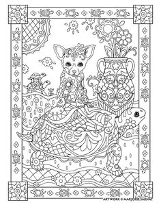 "Creative Haven Dazzling Dogs Coloring Book by Marjorie Sarnat, ""Chihuahua on Turtle"" Dog Coloring Page, Free Adult Coloring Pages, Colouring Pics, Animal Coloring Pages, Coloring Pages To Print, Printable Coloring Pages, Coloring Sheets, Coloring Books, Chihuahua"