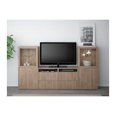 BESTÅ TV storage combination/glass doors - Lappviken/Sindvik gray stained walnut…