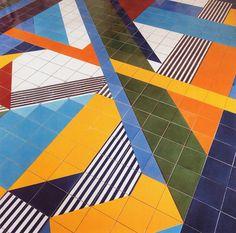 A ceramic tile floor at the Salzburger Nachrichten newspaper offices in Salzburg, Austria by Gio Ponti, 1976.