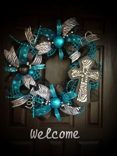 Turquoise,Zebra Cross Wreath.
