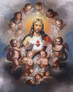 Jesus is always surrounded by adoring angels. God and Jesus Christ Pictures Of Jesus Christ, Bible Pictures, Christian Images, Christian Art, Image Jesus, Jesus E Maria, Christ The King, Divine Mercy, Jesus Lives