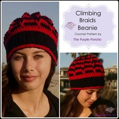 Climbing Braids Beanie - Crochet Pattern - The Purple Poncho
