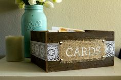 Burlap And Reclaimed Wood Cards Box For Rustic Country Wedding, Burlap Lace Wood…