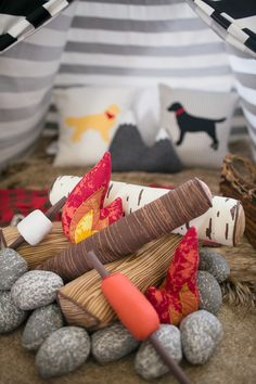 An Adventure Inspired Nursery This adventure themed nursery is so good. A little guy's oasis crafted with adventure at every turn. Maps and tee pees, boats and canoes and even a faux fire pit for roasting marshmallows. Baby Boy Rooms, Baby Boy Nurseries, Baby Room, Kids Rooms, Triplets Nursery, Nursery Boy, Nursery Themes, Nursery Decor, Themed Nursery