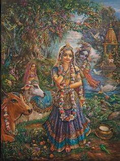 Krsna behind Radha. Painting by Pushkar das.
