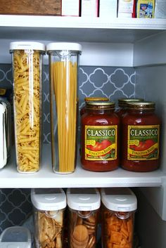 Pantry organization - I gotta start storing my pasta & such in clear containers.  It looks fantastic!
