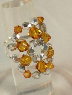 Cocktail ring yellow topaz and silver Swarovski crystal. $8 on Etsy.