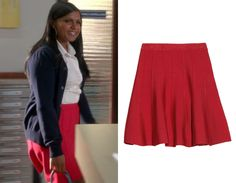 39f485f4bd Mindy's red paneled skirt, seen here in episode 2 of The Mindy Project