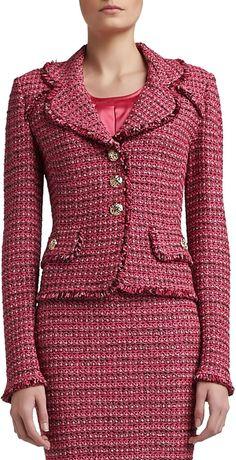 St. John Heathered Dash Tweed Knit Jacket with Pocket Flaps and Fringe on shopstyle.com