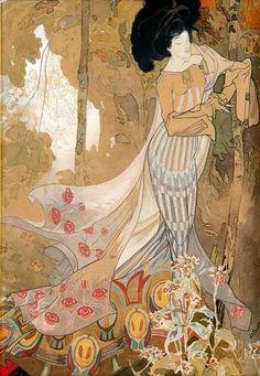 Georges de Feure (real name Georges Joseph van Sluijters, 6 September 1868 – 26 November was a French painter, theatrical designer, and industrial art designer in the symbolism and Art Nouveau styles. Design Art Nouveau, Art Nouveau Poster, Poster Art, Art And Illustration, Illustrations, Fleurs Art Nouveau, Gustav Klimt, Art Français, Inspiration Art