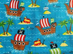 Blue Nautical Fabric Pirate Cotton Fabric, Ocean Fabric, Kids Coastal Fabric Coastal Fabric, Ocean Fabric, Pirate Treasure Maps, Pirate Maps, Map Fabric, Nursery Fabric, Skull And Crossbones, Fabric Crafts, Pirates
