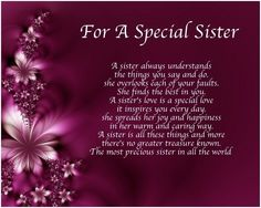 Personalised For A Special Sister Poem Birthday Christmas Gift Present 786071610200 Sister Poems Birthday, Birthday Greetings For Sister, Birthday Verses For Cards, Birthday Wishes Quotes, Happy Birthday Sister In Heaven, Happy Valentines Day Sister, Birthday Heaven, Birthday Prayer, Birthday Music