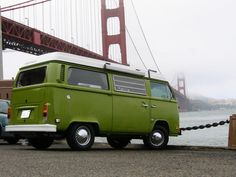 Honu Li'u at the Golden Gate Bridge in San Fransisco, CA. A lime green 1979 Manual Shift Deluxe Westfalia Pop-Top available for rent #VWBus ☮ if you like this check out our Volkswagen Bus board https://www.pinterest.com/wfpblogs/vw-bus/