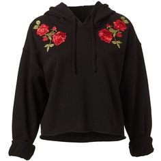 EMBROIDERED HOODIE (350 DKK) ❤ liked on Polyvore featuring tops, hoodies, embroidered hooded sweatshirts, cut-out crop tops, hoodie crop top, cropped hoodies and long sleeve hooded sweatshirt