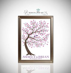 Thumbprint Guestbook  - Wedding Guest Book Tree - Fingerprint Tree 150-200 Guest Sign In - Gallery Canvas Print. $39.00, via Etsy.