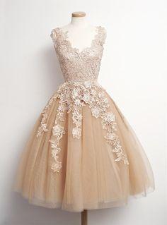 Vintage Tea courte longueur robes de bal Champagne Tulle avec dentelle a - ligne du parti formelle robes de soirée pour femmes