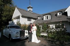 Bride and brides father arriving at Rowhill Grange