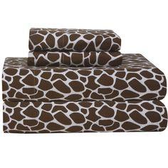 Found it at Wayfair - Heavy Weight Printed Flannel Sheet Set in Chocolate Giraffe Print
