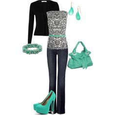 black mint, created by cami-woods-aley on Polyvore...soooo cute!!!