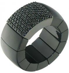 Roberto Demeglio ceramic and black diamonds ring