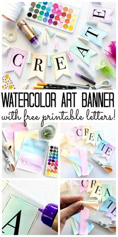 Make this watercolor art banner for your home decor!  Includes free printable letters!