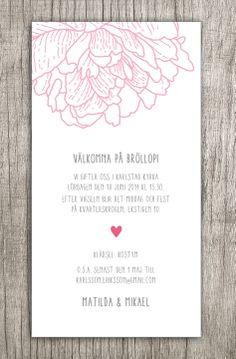 Inbjudningskort bröllop Pion #bröllopsinbjudan #inbjudningskort #pion