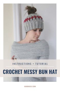If you're looking for a crochet messy bun hat that works up in just over an hour, you're in the right place. Our messy bun hat uses a bulky weight yarn that's soft, warm and works up really fast.  #BHooked #Crochet #FreeCrochetPattern