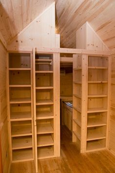 Storage with adjustable shelving      -  To connect with us, and our community of people from Australia and around the world, learning how to live large in small places, visit us at www.Facebook.com/TinyHousesAustralia