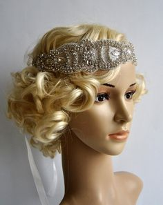 Rhinestone flapper headband, great gatsby headband, 1920s headpiece