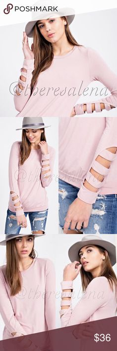 Soft long sleeve knit top with sleeve cutouts A long sleeve sweater featuring rayon modal knit fabric with sleeve cutouts at the sleeve hem  MADE IN USA 🇺🇸 sizes:  S, M, L  PRICE IS FIRM UNLESS BUNDLED!!  YOU MAY BUNDLE FOR A DISCOUNT!! TheresaLena Boutique Sweaters Crew & Scoop Necks