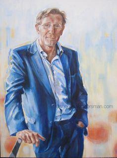 Hans van Breukelen, doelman olieverf/linnen  voor 'Sterren op het doek' Annelies van der Sman