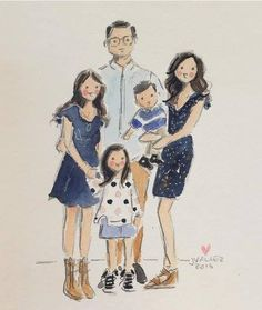 Family Drawing, Baby Drawing, Family Portrait Painting, Family Portraits, Family Illustration, Portrait Illustration, Simple Portrait, Family Crafts, Drawing People