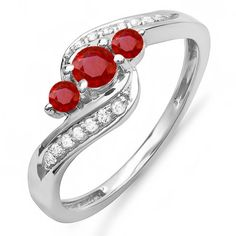 100 Carat Ctw 14k White Gold Round Red Ruby  White Diamond Swirl 3 Stone Bridal Ring Size 85 * Click on the image for additional details. (This is an affiliate link) #WeddingandEngagement