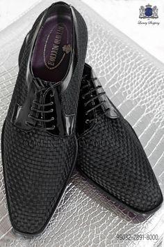 Zapatos de novio negros trenzados 98032-2891-8000 Ottavio Nuccio Gala.