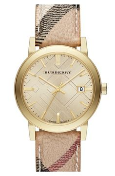 Burberry Large Check Strap Watch, 38mm Haymarket Check/ Gold from Nordstrom on shop.CatalogSpree.com, your personal digital mall.