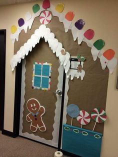 Snow Covered House With Lights Classroom Door Decoration