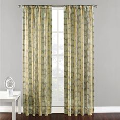 @Overstock.com - Gibson Sheer Rod Pocket 84-inch Curtain Panel - Add subtle elegance to any room in your home with this sheer panel curtain from Gibson. With a three-inch rod pocket, this 100 percent polyester panel features a vine leaf print in a soft color palette of yellow, green, and gray and is machine-washable.  http://www.overstock.com/Home-Garden/Gibson-Sheer-Rod-Pocket-84-inch-Curtain-Panel/8210232/product.html?CID=214117 $22.99