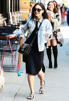 Foil Finish On Hudgens: Komono Dreyfuss Sunglasses ($60); Milli Millu Seattle Bag ($454); Sol Sana Evie Sandals ($80).