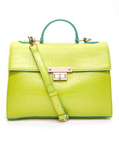 Love this Nila Anthony Lime Croc-Embossed Lock Satchel by Nila Anthony on #zulily! #zulilyfinds