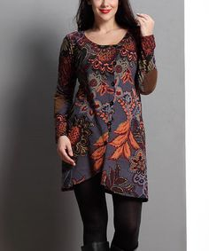 Charcoal Floral Elbow Patch Side-Button Tunic