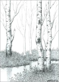 Amazing Charcoal Easy Things to Draw Ideas. Staggering Charcoal Easy Things to Draw Ideas. Tree Line Drawing, Tree Drawings Pencil, Name Drawings, Forest Drawing, Pencil Trees, Pencil Sketch Drawing, Pencil Drawing Tutorials, Leaf Drawing, Nature Drawing