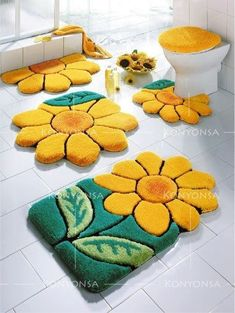 flowers bathroom rug sets, bath mats yellow and green bathroom rugs and carpets If you search for contemporary bathroom rug set and bath mats, we provide a new catalog of bathroom rug sets bath mat sets for modern bathroom 2018 Round Bathroom Rugs, Green Bathroom Rugs, Bathroom Rug Sets, Bathroom Bath, Modern Bathroom, Sunflower Bathroom, Sunflower Kitchen, Tapis Design, Latch Hook Rugs