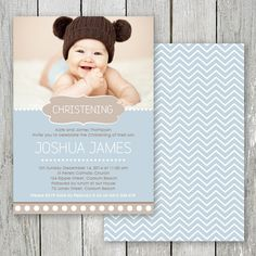 Beautiful Christening photo invitation for a little boy designed & printed on double sided card by Peach Perfect Australia.