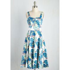 Pinup Sleeveless Fit & Flare Flower Show Stopper Dress ($90) ❤ liked on Polyvore featuring dresses, apparel, fashion dress, multi, fit and flare midi dress, cotton dress, white dress, sleeveless dress and blue cotton dress