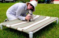 #DIY #dog #beds are great to make for your own pets or a great service project to donate to shelter dogs! They'll be so grateful!  http://petprojectblog.com/archives/cats/diy-elevated-dog-bed-like-kuranda/