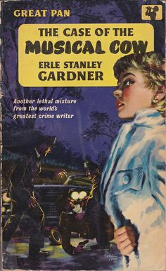 """Erle Stanley Gardner: The case of the musical cow.  Pan Books 1960.  Cover art by Sam Peffer (""""Peff"""").  pan g326 