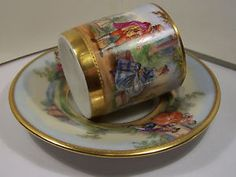 ANTIQUE-GERMAN-DRESDEN-STYLE-PORCELAIN-CHINA-CUP-SAUCER-HND-PNTD-COURTING-SCENE