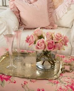 Pink roses and pink champagne