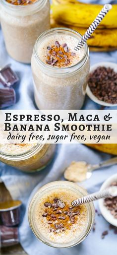 Energise with this Espresso and Maca Banana Smoothie! Gluten free, dairy free and vegan friendly, a great healthy snack or breakfast. Recipe via nourisheveryday.com